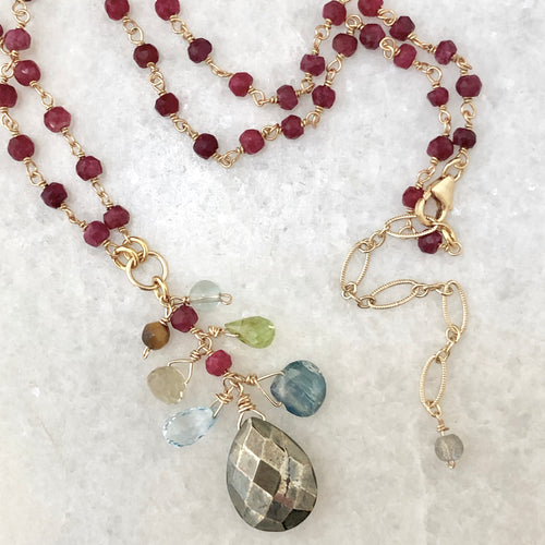 Archipelago Abundance Necklace - ruby & pyrite