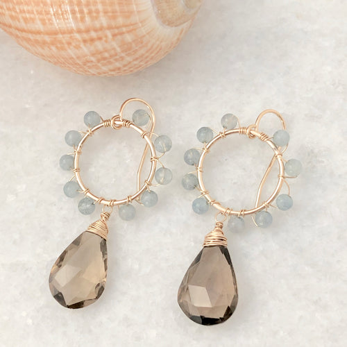 Newport Daisy Earrings ~ smokey quartz & aquamarine
