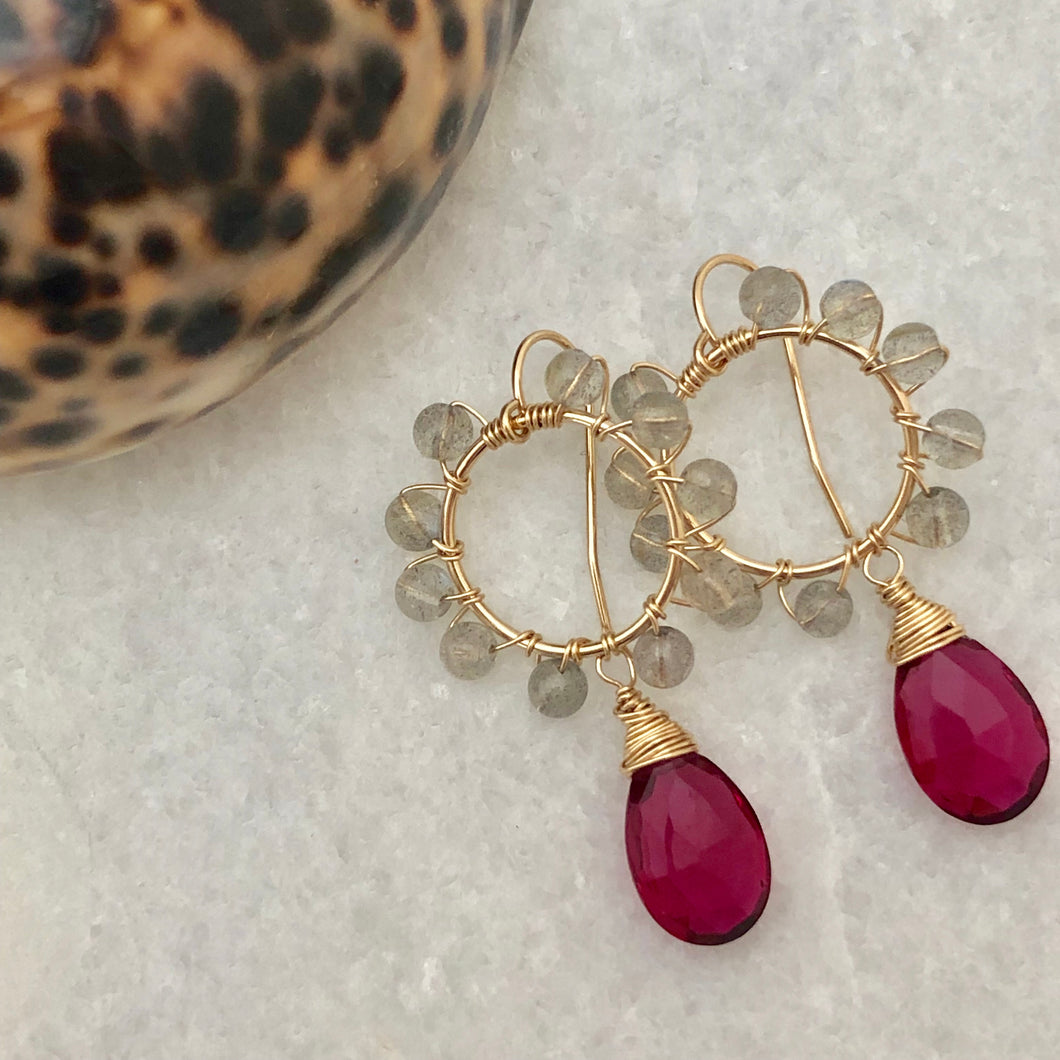 Daisy Earrings ~ rubellite & labradorite