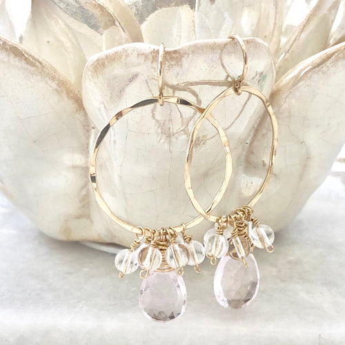 Morganite Hoop Earrings