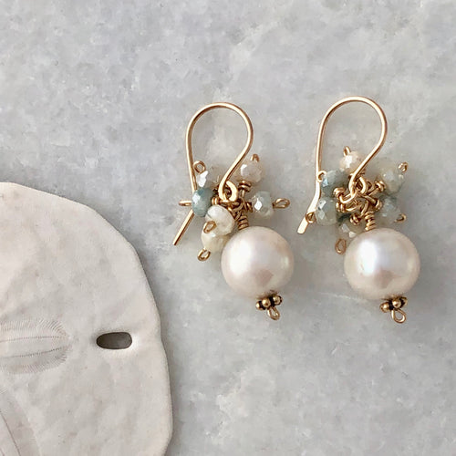 Tahiti Pearl Cluster Earrings
