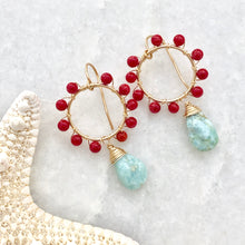 Daisy Earrings ~ amazonite & coral