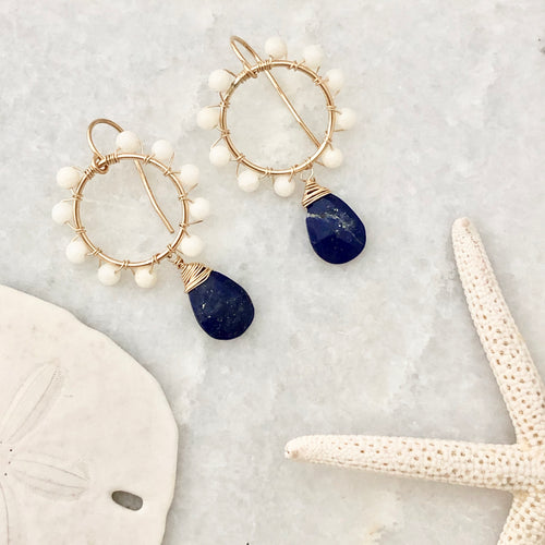 Daisy Earrings ~ lapis & white coral