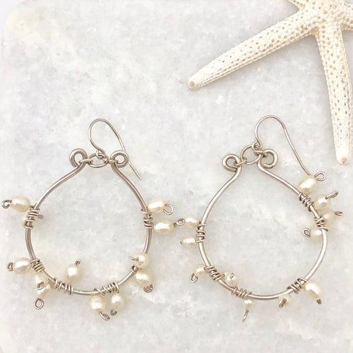 Sterling Silver & Pearl Hoop Earrings