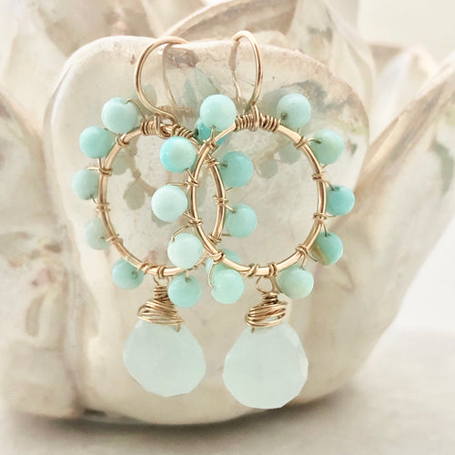 Daisy Earrings ~ aqua chalcedony