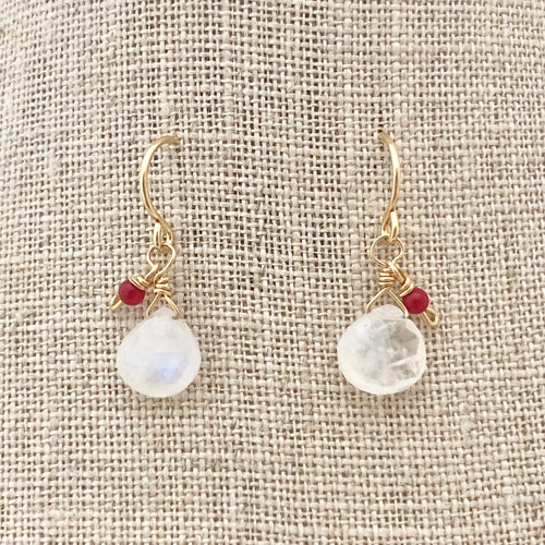 Tiny Moonstone and Coral Earrings