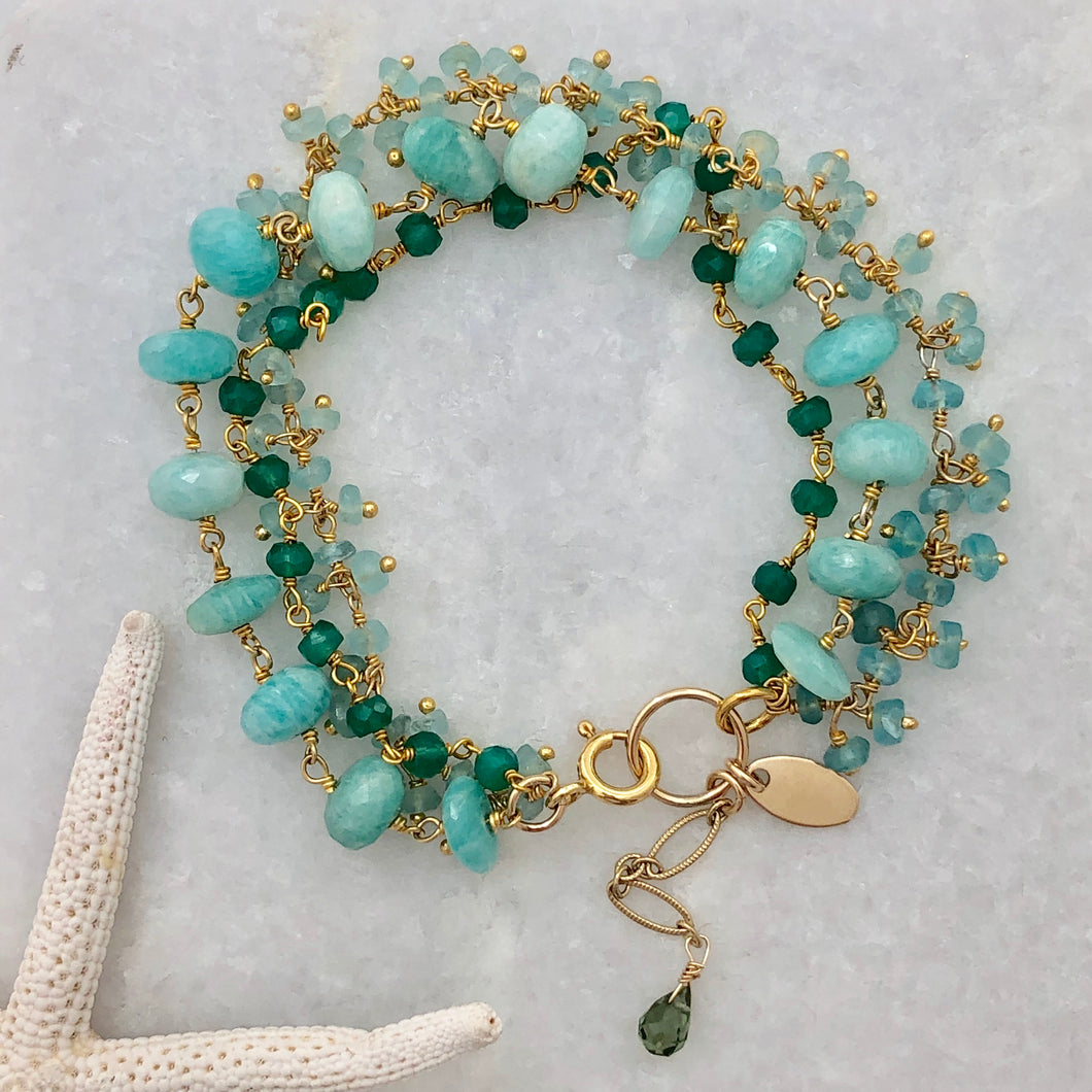 Triple Gemstone Bracelet ~ Amazonite