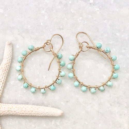 Blue Peruvian Opal Studded Hoop Earrings
