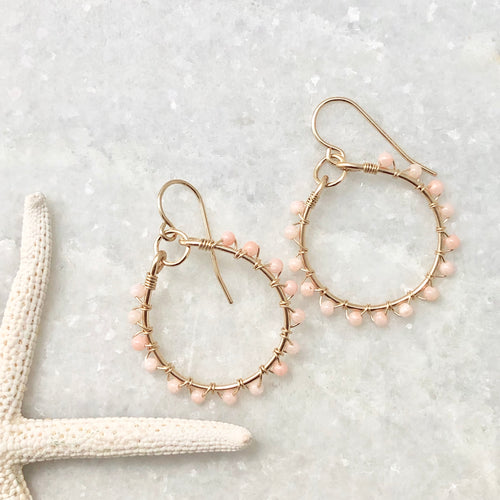 Pink Opal Studded Hoop Earrings