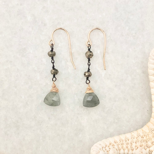 Sausalito Earrings ~ moss aquamarine