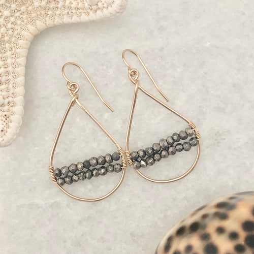 Aspen Pyrite Woven Hoop Teardrop Earrings