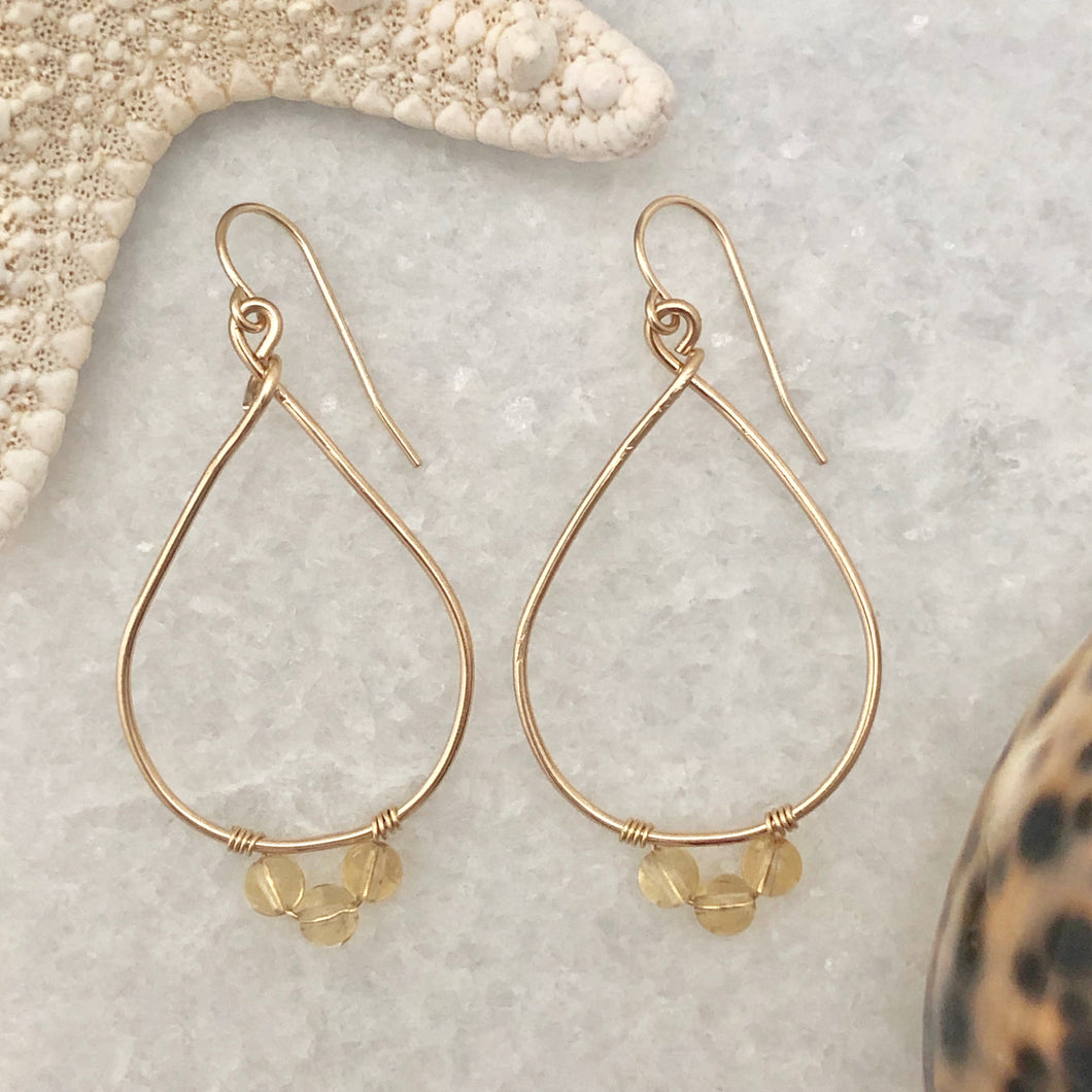 Sun Goddess Teardrop Hoop Earrings