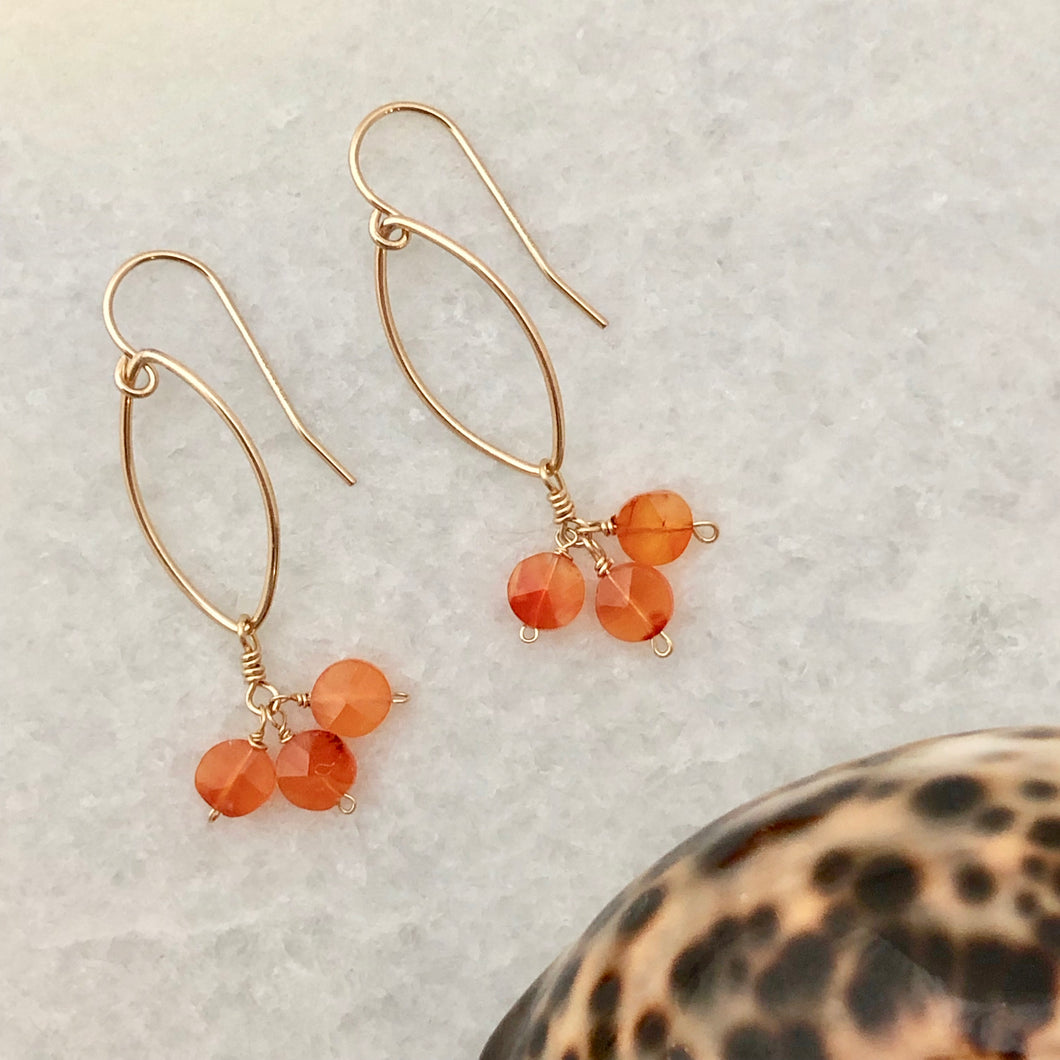 Carnelian Marquise Earrings