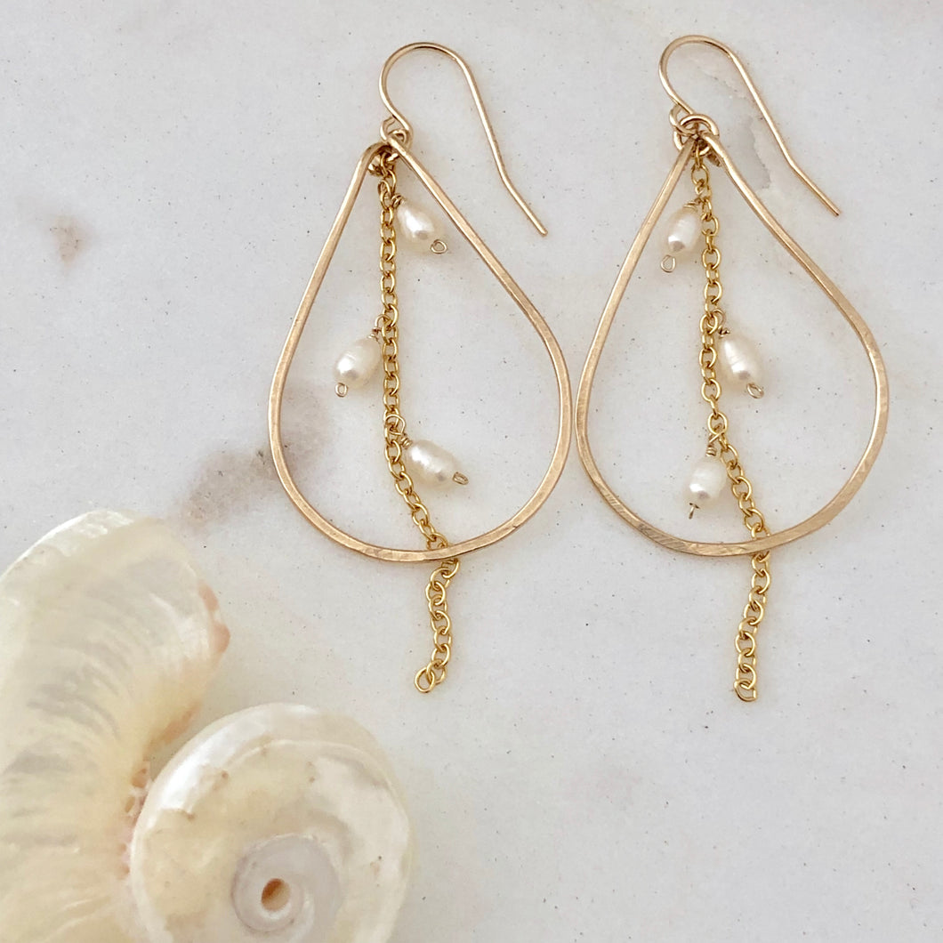 Tahiti Teardrop Pearl Hoop Earrings