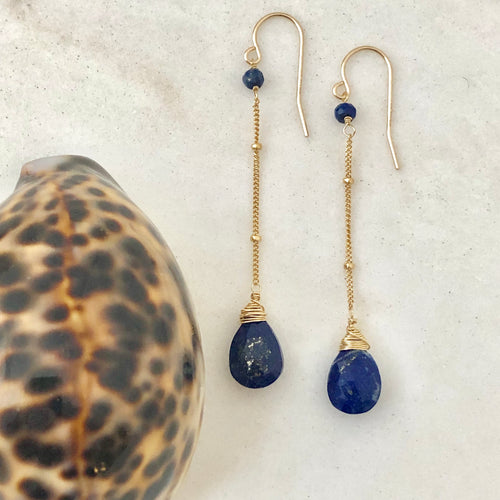 Long Lapis Chain Earrings
