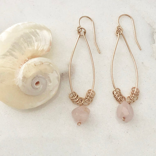 Rose Quartz Marquise Hoop Earrings