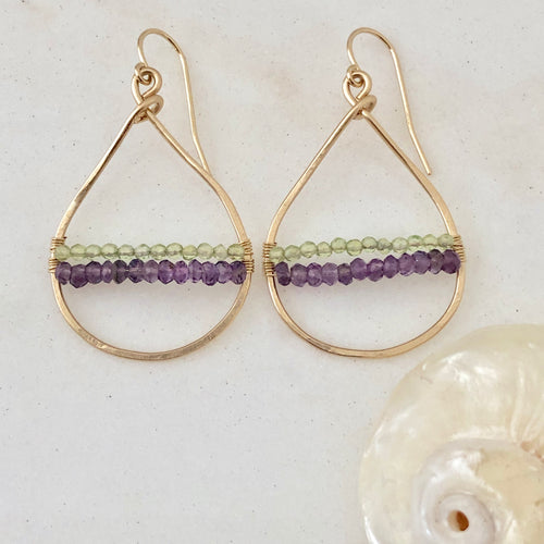 Twin Peaks Woven Hoop Earrings ~ amethyst & peridot
