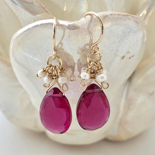 Pearly Cluster Earrings ~ Rubellite & Pearl