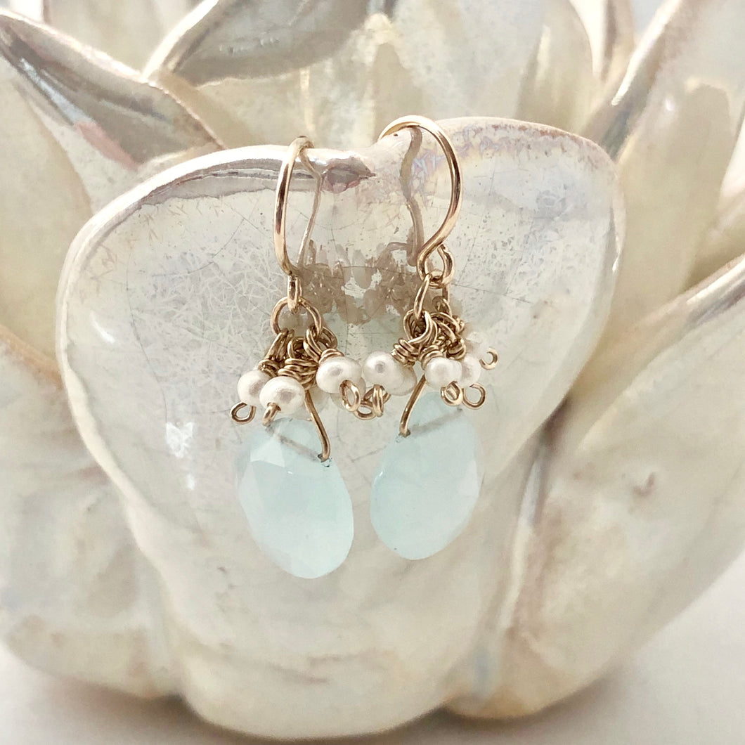 Pearly Cluster Earrings ~ Aqua Chalcedony & Pearl