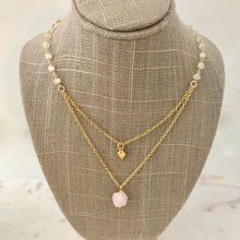 Layered Necklace ~ moonstone & rose quartz