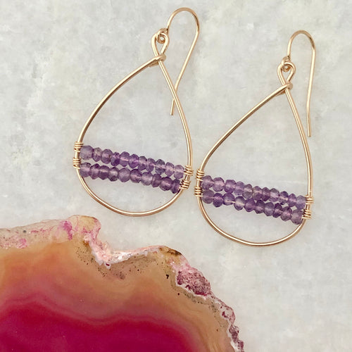 Paris Woven Hoop Earrings ~ Amethyst