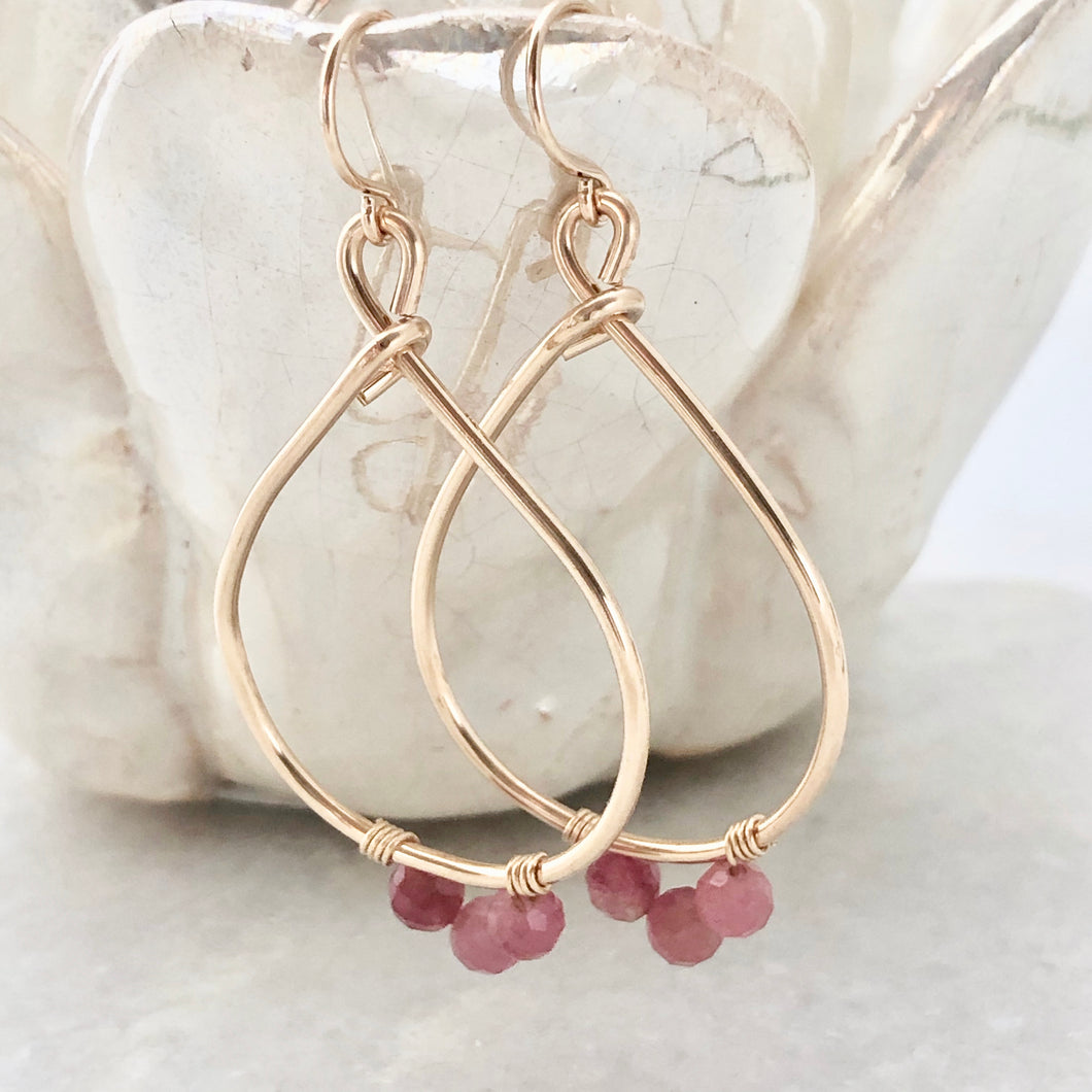 Pink Tourmaline Teardrop Hoop Earrings