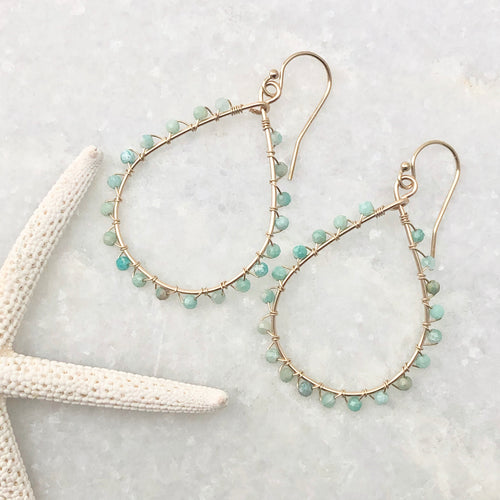 Studded Teardrop Hoop Earrings