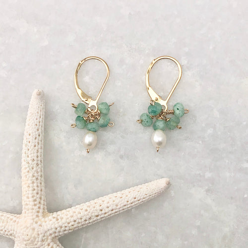 Tiny Pearl Cluster Earrings