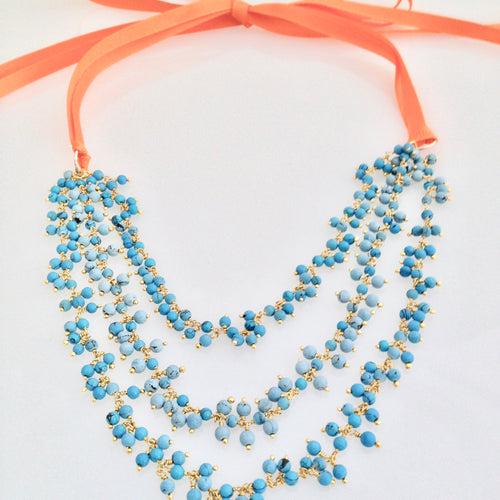 Turquoise Cluster Ribbon Necklace