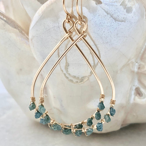 Ocean Blue Diamond Teardrop Hoop Earrings