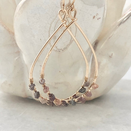 Chocolate Diamond Teardrop Hoop Earrings