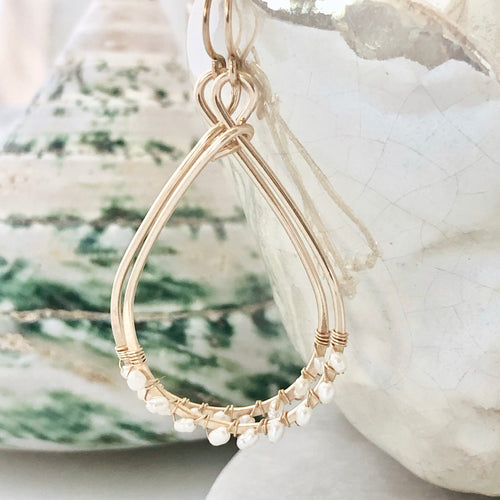 Tahiti Tiny Pearl Teardrop Hoop Earrings