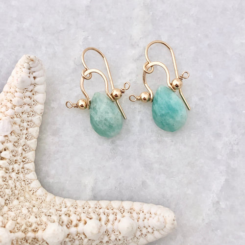 Amazonite and gold fill earring