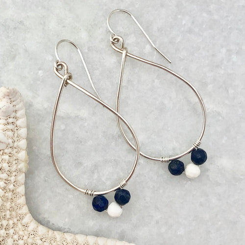 School Spirit Teardrop Hoop Earrings ~ silver