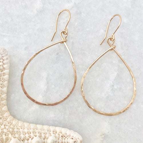 Hammered Teardrop Hoops ~ gold