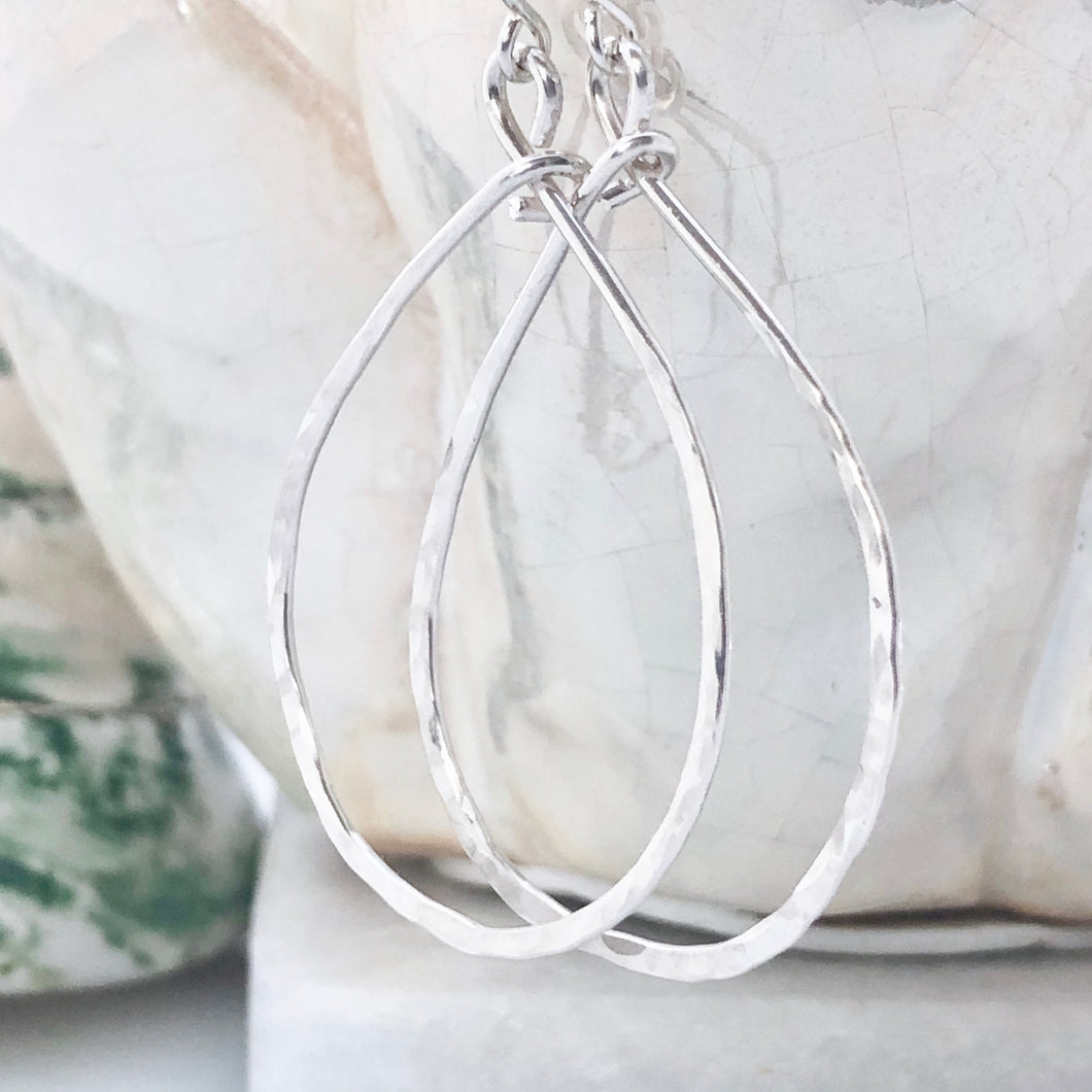 Hammered Teardrop Hoops ~ sterling silver