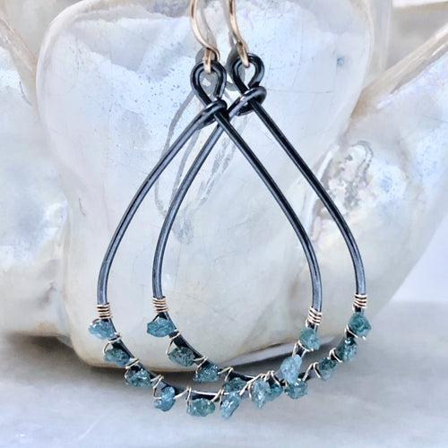 Kauai Blue Diamond Hoop Earrings