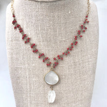Srinagar Shell Necklace - red coral and moonstone