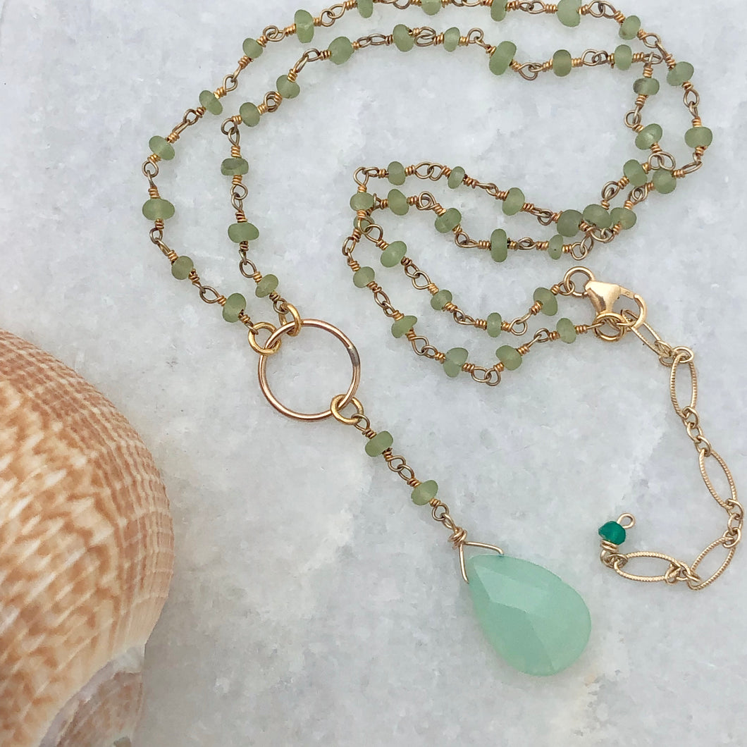 Sea Foam Y Necklace