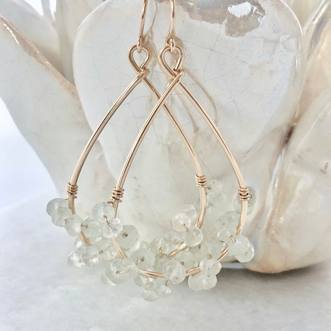 Spring Lake Hoop Earrings ~ green amethyst