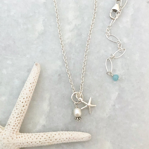 Sea Star Charm Necklace ~ silver