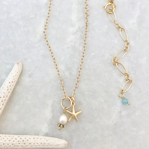 Sea Star Charm Necklace ~ gold