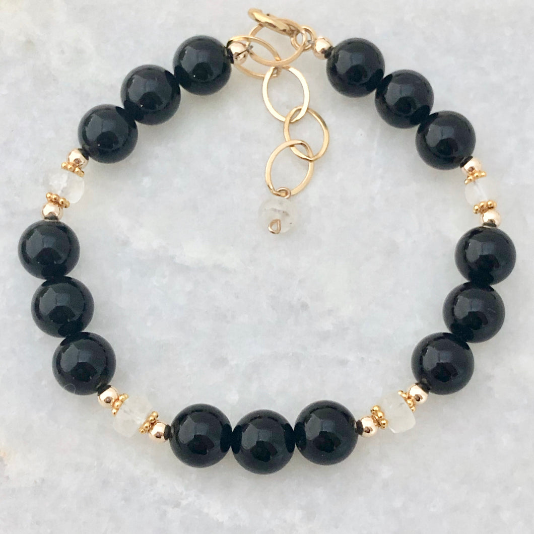 Black Onyx and Moonstone Bracelet