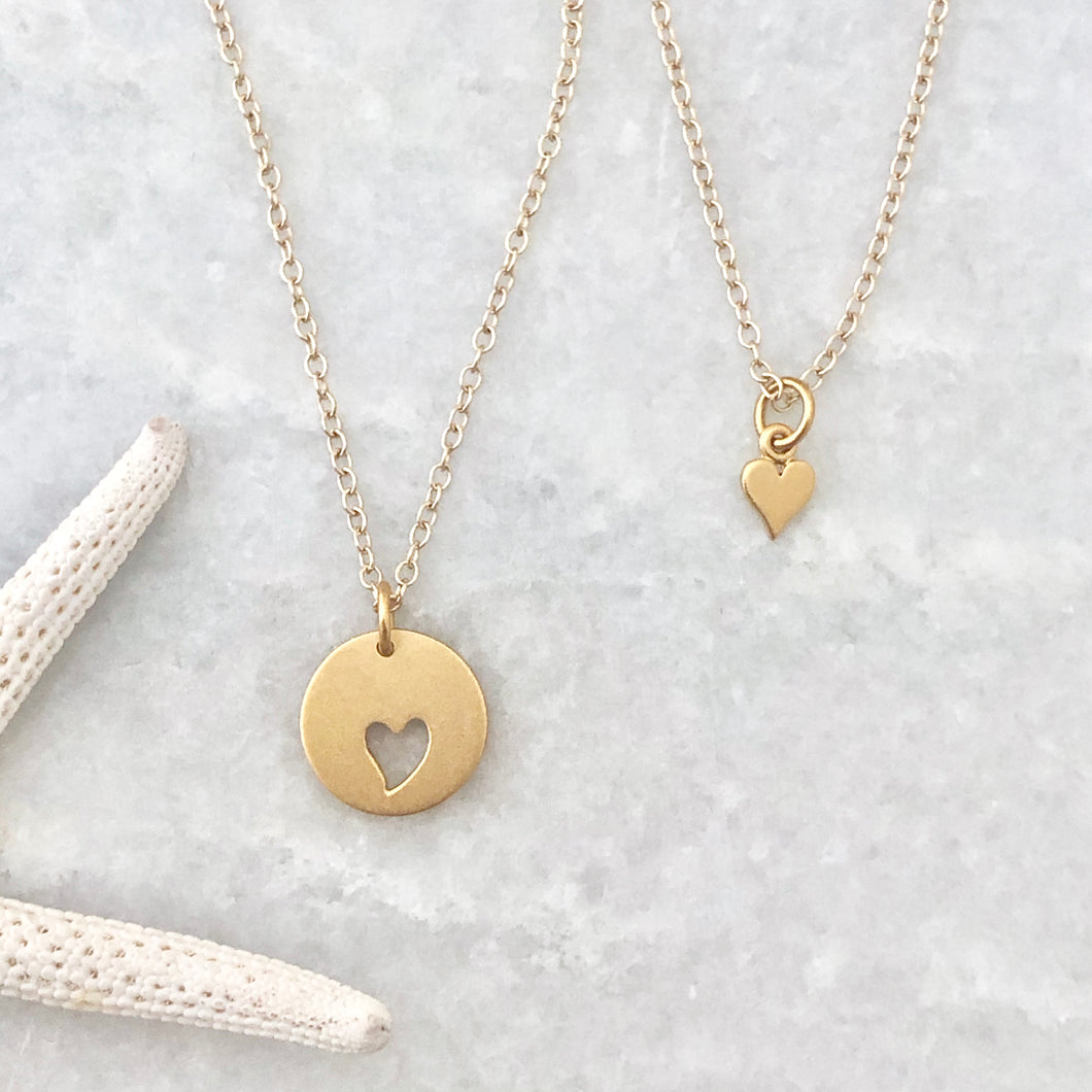 Big & little heart necklaces