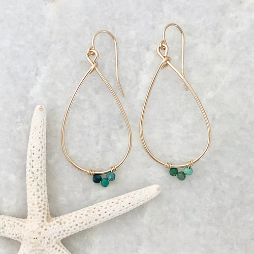 Large Gemstone Teardrop Hoop Earrings