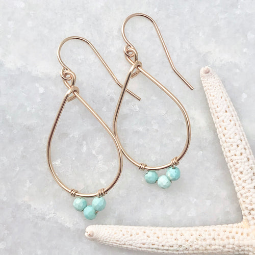 Medium Gemstone Teardrop Hoop Earrings