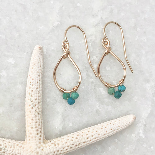 Small Gemstone Teardrop Hoop Earrings