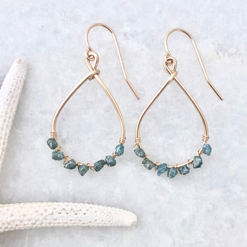 Monaco Ocean Blue Diamond Hoop Earrings ~ small