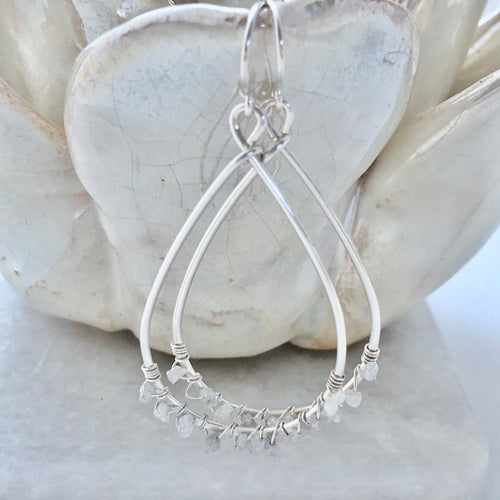 Silver Sands White Diamond Hoop Earrings