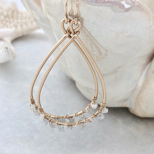 Monaco White Diamond Hoop Earrings